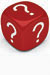 red dice with question marks
