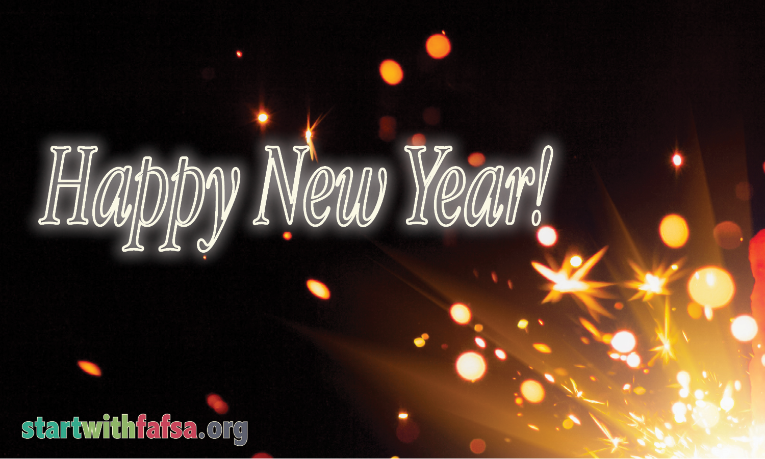 "Image of sparkly light and the phrase ""Happy New Year!"""