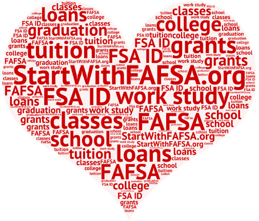 heart with FAFSA related word collage