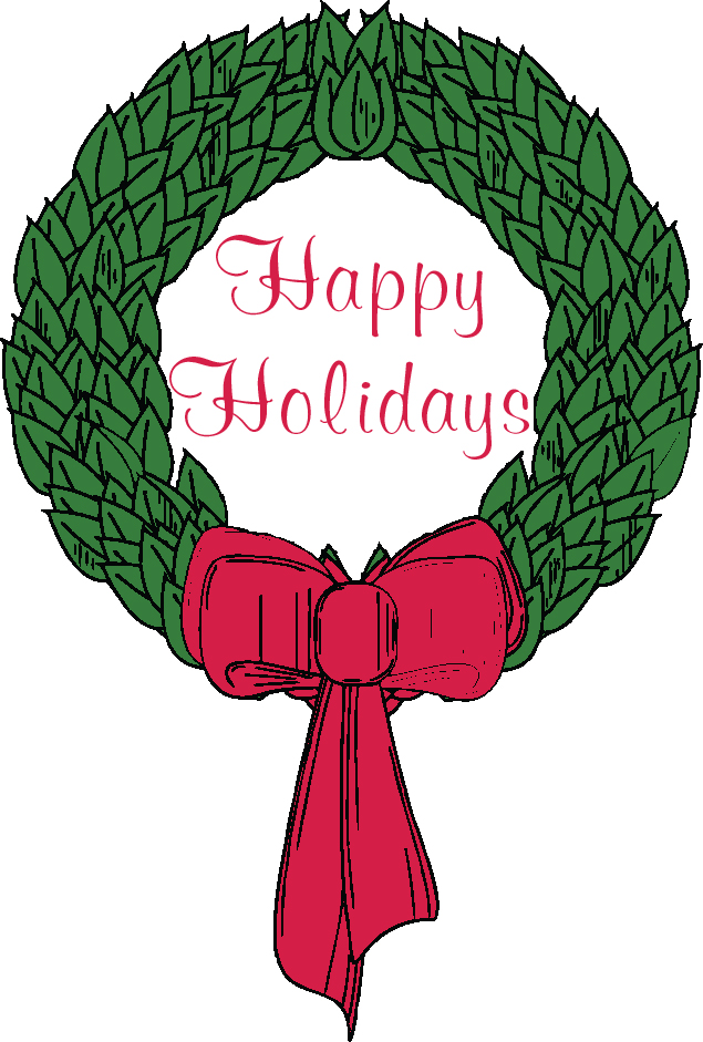 "Image of wreath with words ""Happy Holidays"""