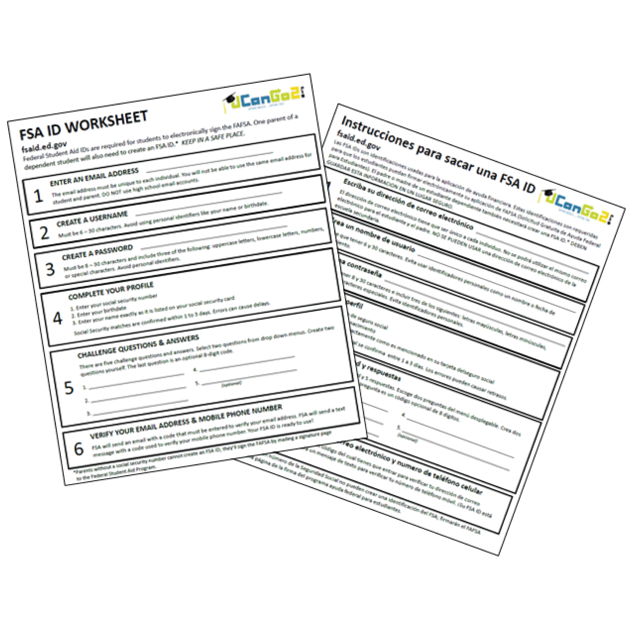 FSA ID Worksheet Image