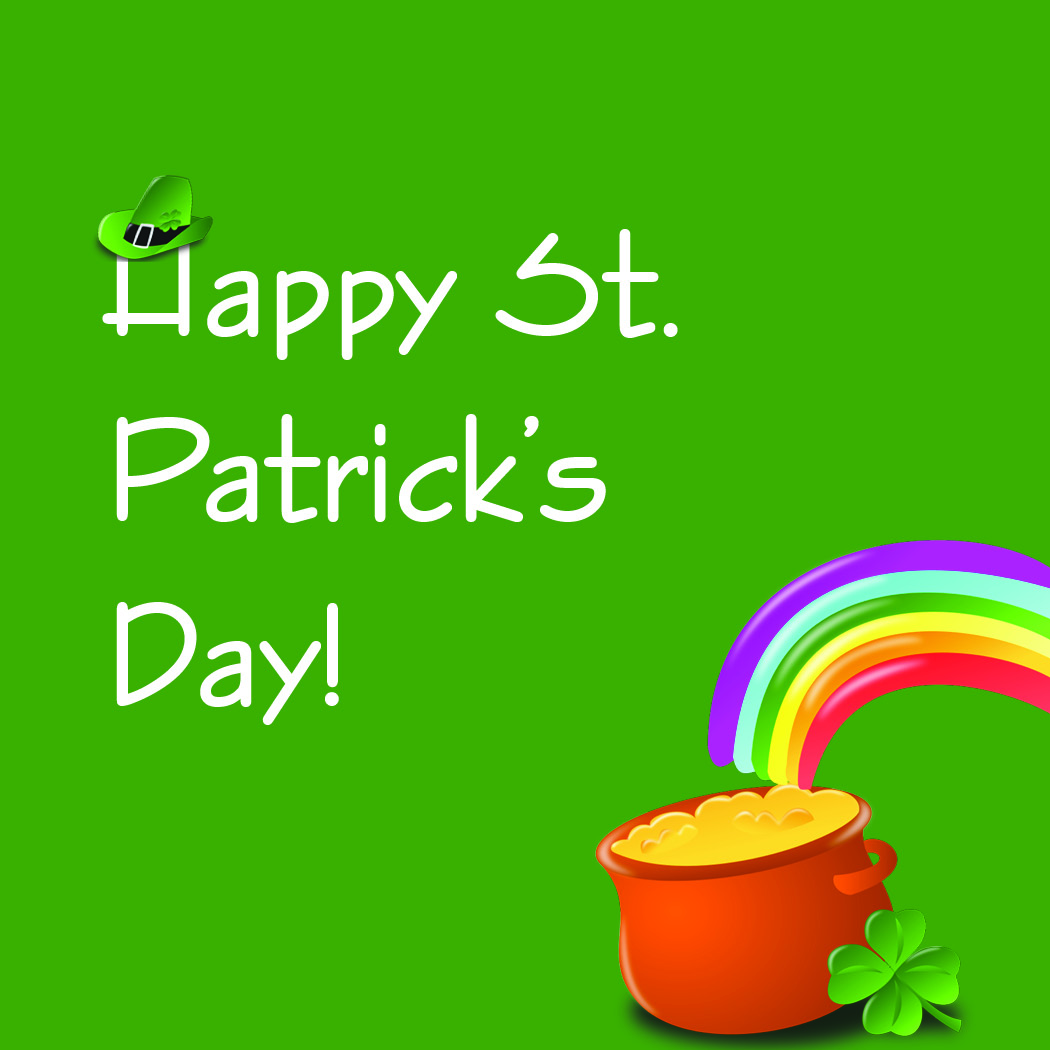 Happy Saint Patrick's Day with pot of gold and rainbow.