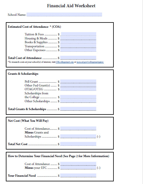 image of page one of financial aid worksheet